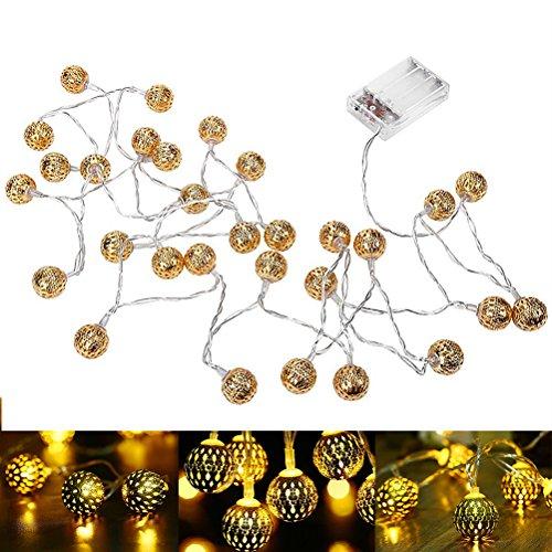 LEDMOMO 3.2 M 30LED marokkanischen Zeichenfolge Lichter Batterie betrieben marokkanischen Ball Licht für Parteien Festival Dekoration (Gold)
