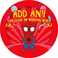 Superhero Spider Kid Sticker Labels (48 Stickers, 4.5cm Each) Personalised Custom Seals Ideal for Party Bags Sweet Cones Favours Jars Presentations Gift Boxes Bottles Crafts