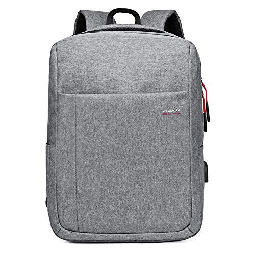LHJ Wasserdichte 15,6-Zoll-Laptop-Schultertasche USB-ladeanschluss-Rucksack Rucksack Aus Nylongewebe,Gray,15.6inches