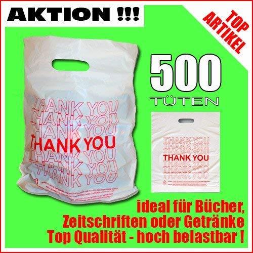 TE-Trend 500 Plastiktüten Einkaufstüten Tragetaschen mit Henkel weiß mit rotem Aufdruck Thank You Tragetüten 45x34cm stabil