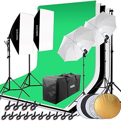 Juego Completo de 2 lámparas de fotografía de Estudio fotográfico de 135 W, 2 x 45 W, con Sistema de Fondo