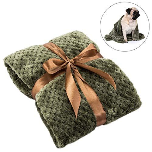 FONLAM Manta para Perro Gato Cachorro Colchón Manta para Cama Perro Mascota Suave Invierno Grueso Calentito (100 * 70cm, Verde)