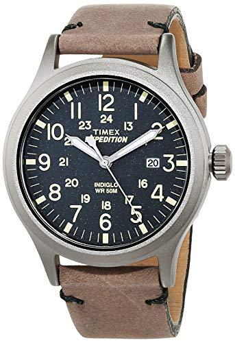 Timex Expedition - Reloj análogico de cuarzo con correa de cuero para hombre, Marrón (Marrón/Gris)