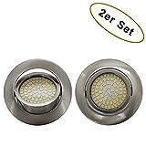 2er Set - LED Panel Einbaustrahler 4 Watt schwenkbar silber ultra flach Einbauspot Lampe - Lichtfarbe: warmweiß