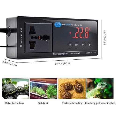KOBWA Digitaler Temperaturthermostat, Temperaturregler, digitaler Auslass-Thermostat mit NTC-Sensor-Sonde für Keimung, Reptilien und Brühen