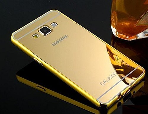 Kapa Luxury Mirror Effect Acrylic back + Metal Bumper Case Cover for Samsung Galaxy J7 - Gold