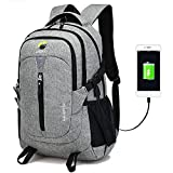 Reiserucksack Laptop-Rucksack mit USB-Ladeanschluss,17 Zoll Business Schulrucksack Laptoptasche,Canvas Unisex Daypack Casual Backpack Grau