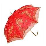 bpblgf Brautschirm Damen Hochzeit Gesticktes Vintage Sonnenschirm Hochzeit 55 * 8k Groß Rot Double-Layer-Stickerei, 01