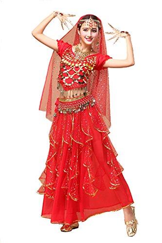 YYCRAFT Damen-Halloween-Kostüm Tops Rock Set mit Zubehör Bauch Dance Performance Outfit 6Farben, Damen, Style B-Red, Unique Size