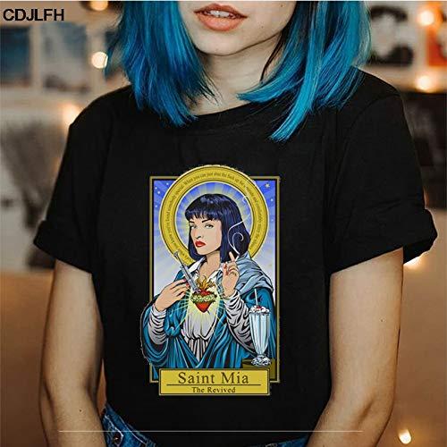 ZCYTIM Vintage Sommer Pulp Fiction T-Shirt Harajuku Kawaii Tops Koreanische Stil Oansatz T-Shirt Gedruckt -