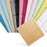 1 Pcs Kinlo Tapeten Folie Selbstklebend Steinoptik Tapet Wasserfest Schaum Panel weiche Ziegel Anti-Kollision Wandaufkleber 77 x 70 x 0.9 cm (Wald Braun 1 pcs)