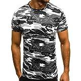 UFACE T-Shirt Slim Casual Fit Kurzarm Camouflage Bluse Tops Herren Camouflage Slim Fit Casual Kurzarm T-Shirt (2XL, Schwarz)