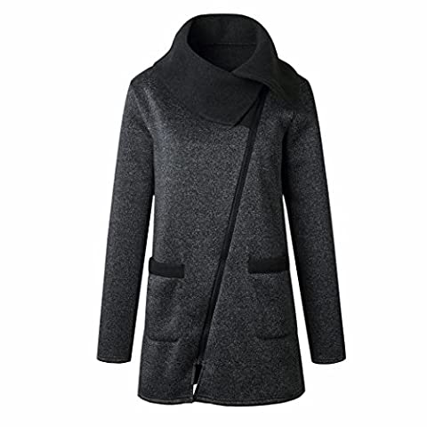 Women Coat,Women Long Sleeve Casual Hooded Coat Pullover (2XL, Dark Gray)