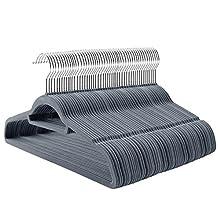 SONGMICS 50 Pack Velvet Coat Hangers, Non-slip Surface for Clothes, Space-saving Suit Hanger with 360° Swivel, Light Grey CRF50VX