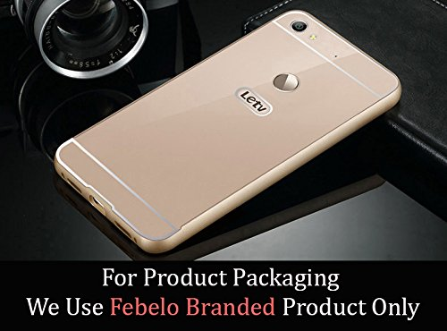 Febelo Branded Metal Alloy Bumper Frame Case with Acrylic Back Cover for LeEco Letv Le 1s - Gold Color