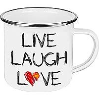 Cadouri - Camping-Tasse mit Spruch LIVE LAUGH LOVE Kaffeetasse Kaffeebecher Emaille-Tasse Campingbecher - 300 ml