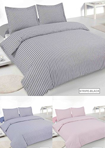 Blended Oxford (Oxford Stripe Double Easy Eisen Blended Baumwolle Steppbett-Set in schwarz)