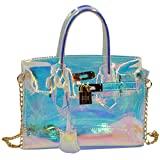 Millya Ladies Fashion Laser Hologrphic Tote Bag Sequins See Through Cross Body Bag Casual Daypack
