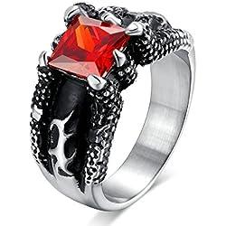 Sortija de acero con circonita roja