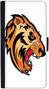 Snoogg Angry Tiger Face Mascot Vector Tattoo Graphic Snap On Hard Back Leathe...