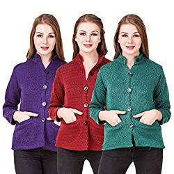 Kritika World Womens Wool Cardigan Dress (COAT_NHRU_PURPLE_MAROON_GREEN_Purple Maroon Green_X-Large)