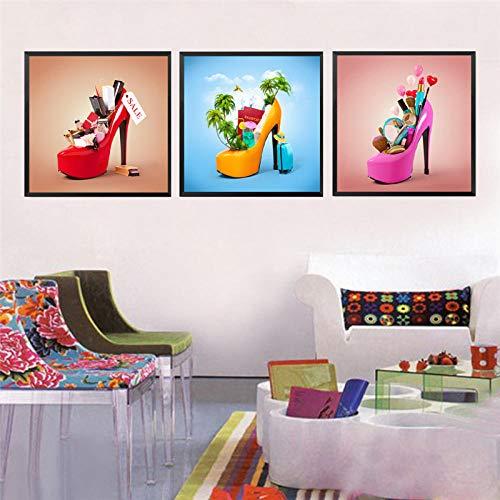 Non-branded Moderne malerei high-Heel comestic Schuh leinwand Kunstdruck Poster, Mode Schuhe wandbilder für wohnkultur hd30x30cmx3 kein Rahmen