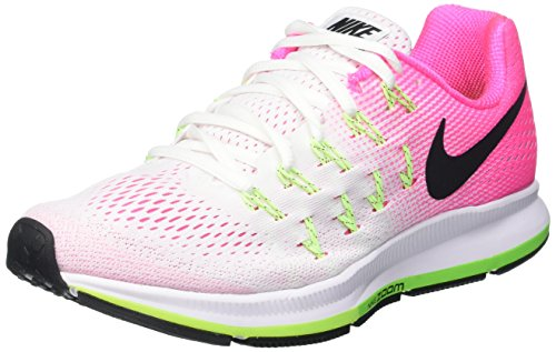 Nike Wmns Air Zoom Pegasus 33, Scarpe da Ginnastica Donna Multicolore (White/Black-Pink Blast-Electric Green)
