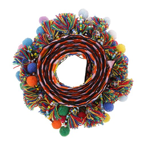 Gazechimp 1 Yard Bunte Trimm Ball Perlen Fransen Quasten Braid Ribbon Trim - Farbe 3, 60mm