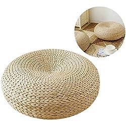 Oshidede Coussin de Sol 45 x 45 cm Tatami au Sol Coussin Rond pour la Maison Patio Balcon Tables