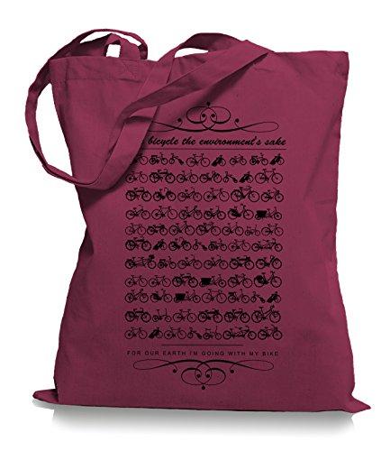 Ma2ca® Kult Bikes Stoffbeutel Einkaufstasche Tasche Tragetasche / Bag WM101 Cranberry