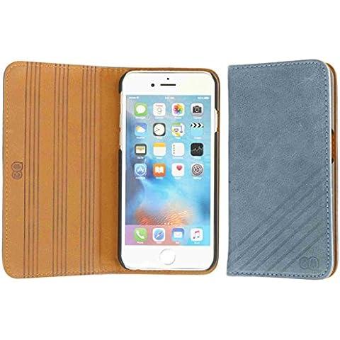 3Q Lujosa Fundas iPhone 6 Funda iPhone 6S Carcasa para Apple piel real Novedad Mayo 2016 Flip Case iPhone 6S cuero genuino folio libro Top Diseño lujoso exclusivo Suizo Azul