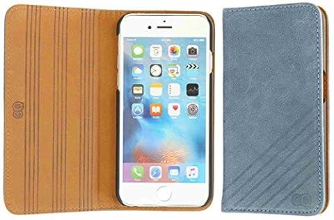 3Q Luxus iPhone 6 Hülle iPhone 6S Hülle Hochwertiges Echt-Leder Klasse Leder-Hülle Handy-hülle Handy-Tasche Etui mit Schweizer Premium Design und Verpackung. Flip Case (Leder Echtes Album)