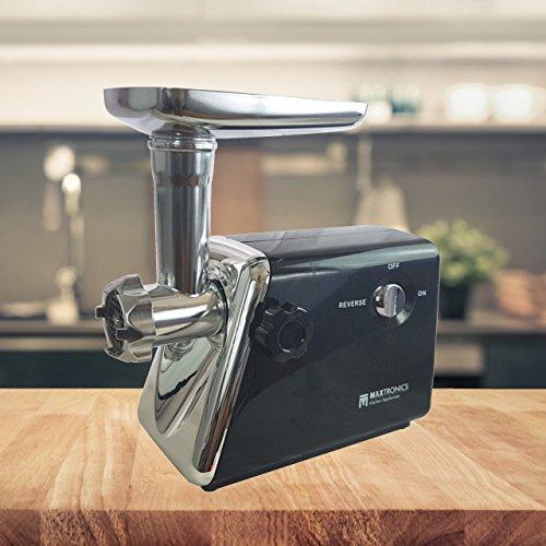 FRX Elektrischer Fleischwolf 500 Watt Black Fleisch Wolf elektrisch Meat grinder Hack Wurstmaschine Mehrzweck-Reibe mit Edelstahl-Klingen (black)