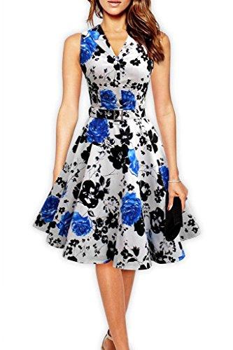 Eyekepper 'Ophelia' Vintage 1950's Blumengarten Party-Picknick-Kleid Blau