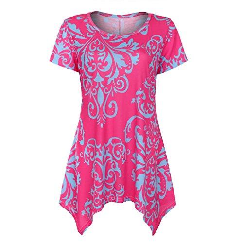 TUDUZ Sommer Damen Eegant Tops Kurzarm Swing Boho Retro Tunika Blumen Flare Tee Bluse Shirt (Lila, S)