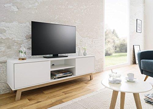 TV-Board, TV-Sideboard, TV-Lowboard, Fernsehtisch, TV-Schrank, TV-Bank, TV-Kommode, TV-Unterschrank, weiß, Sonoma Eiche, sägerau, 150x50x40 cm