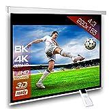 Écran de projection motorisé 220 x 165 cm SlenderLine Plus, Format 4:3 FULL-HD 3D 4K 8K, Écran de projection électrique pour vidéoprojecteur, Home Cinema, pour Mur ou Plafond, avec Télécommande