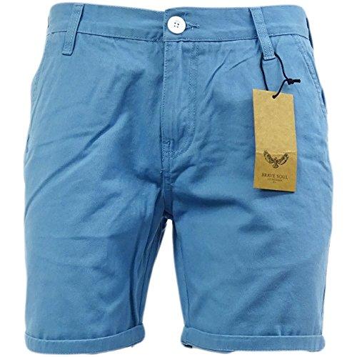 Herren Chino Shorts Von Brave Soul Baumwolltwill Hellblau
