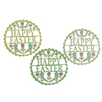 Lovely set of detailed Happy Easter Hanging decorations with intricate Fretwork design; One of each Colour provided; Hang from attached Invisible Clear Plastic Loops; Each dec measures: 9.5 cm x 9.5 cm x 0.3 cm