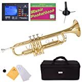Mendini MTT-L Gold Lacquer Bb Trumpet with Chromatic Tuner, Case, Stand, Mouthpiece, Pocketbook and More