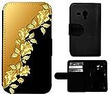 Flip Cover Schutz Hülle Handy Tasche Etui Case für (Samsung Galaxy S3 Mini i8190 i8200, 1368 Rosen Ranke Gold Farben Schwarz)