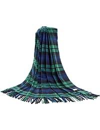 Bufanda grande con patrón de tartán, de lujo