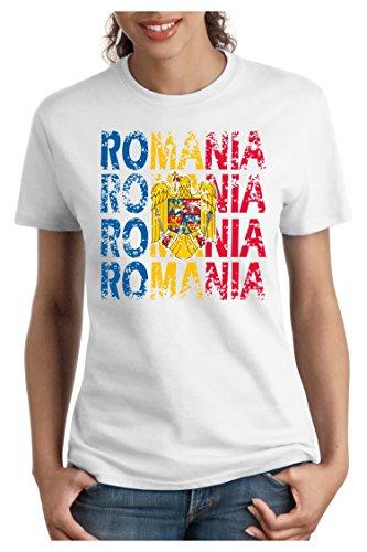 OM3 - ROMANIA - Damen T-Shirt tailliert - RUMÄNIEN EM 2016 FRANKREICH FRANCE FUSSBALL FANSHIRT SOCCER SPORT TRIKOT EUROPAMEISTER, S - XXL Weiß