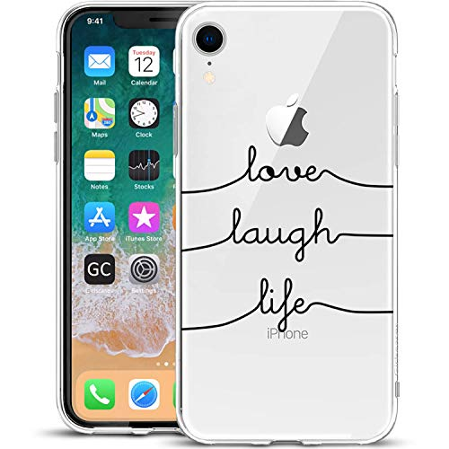 GIRLSCASES® | Hülle kompatibel für iPhone XR | Mit coolen Spruch Aufdruck Motiv | Love-Laugh-Life | Case transparente Schutzhülle | Farbe: schwarz |