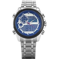 UNIQUEBELLA Digital Sport Alarm Wrist Watch, Stainless Steel Band Blue glass Face Date and Day Men Wrist Analog-Digital Bracelet Watch