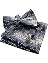 f39a6de0fbe0 Alizeal Mens Paisley Bow Tie, Pocket Square, Cufflinks Set