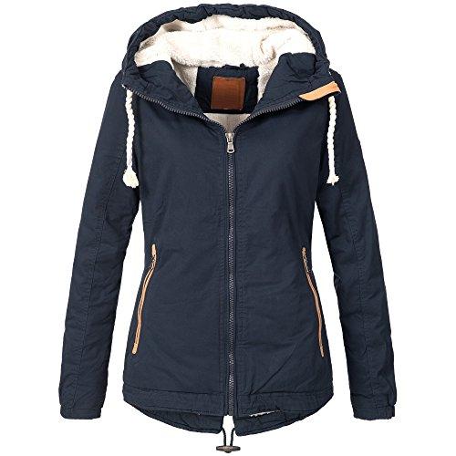 BOL Damen Winterjacke Parka Winter Jacke innen Teddyfell warm 15625 S-XXL 2Farben, Größe:L / 40;Farbe:Navy