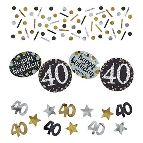 40.ster Geburtstag. Komplettes Party Set zum 40 Geburtstag Gold Schwarz Silber plus Glitter, 41 Teile komplette Dekoration zum 40 Happy Birthday - 2