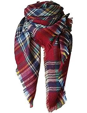 Borlas de las mujeres suave tela escocesa bufanda de tartán invierno grande mantita abrigo chal