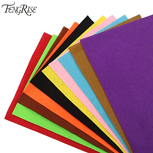 Generic FENGRISE 10ps 28x19cm Mix Non Woven Felt Fabric DIY Craft Polyester Nonwoven Felt Patchwork Sewing Dolls Accessories For Clothes
